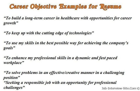examples of resume objectives: