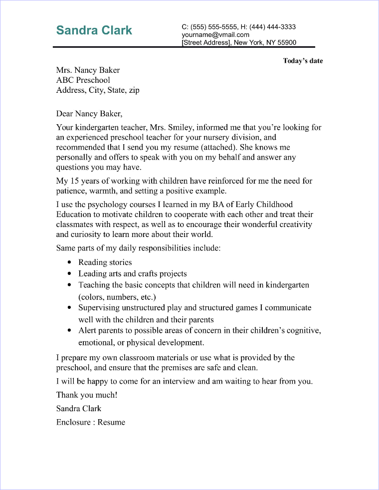 Camp Counselor Cover Letter Sample