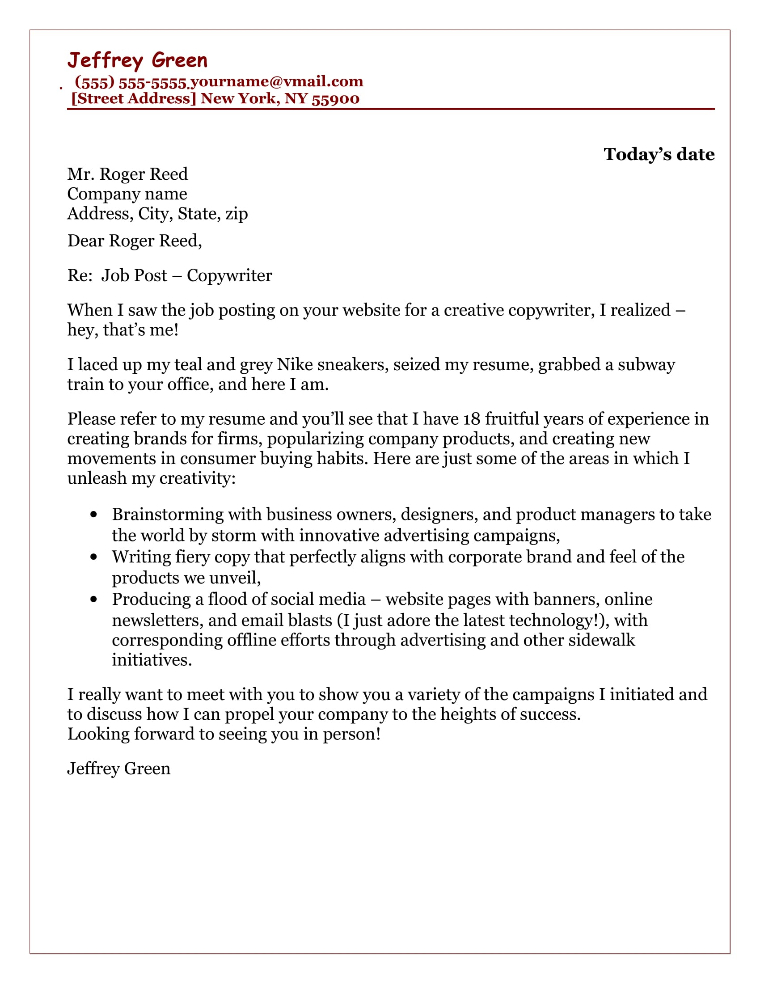 Copywriter Cover Letter Sample