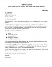 Finance Internship Cover Letter Sample