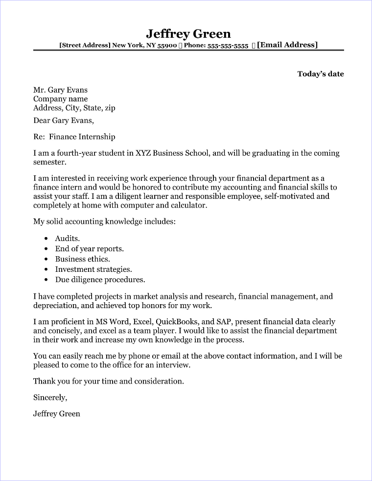 investment banking intern cover letter
