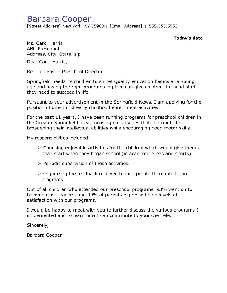 Preschool Director Cover Letter Sample