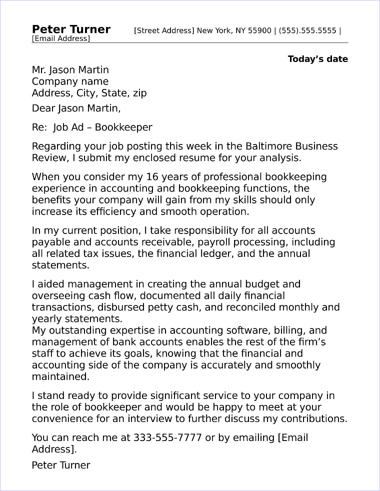 Accounting Bookkeeping Cover Letter Sample - Full Charge Bookkeeper ...