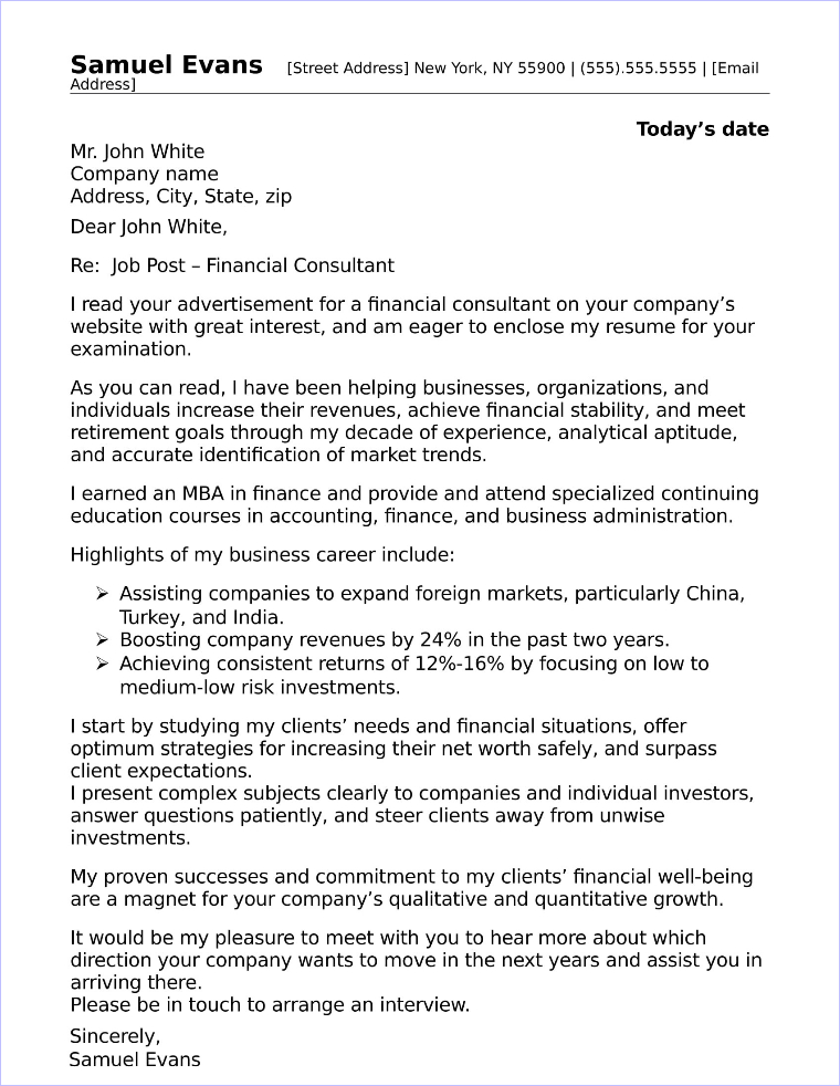 financial consultant cover letter sample