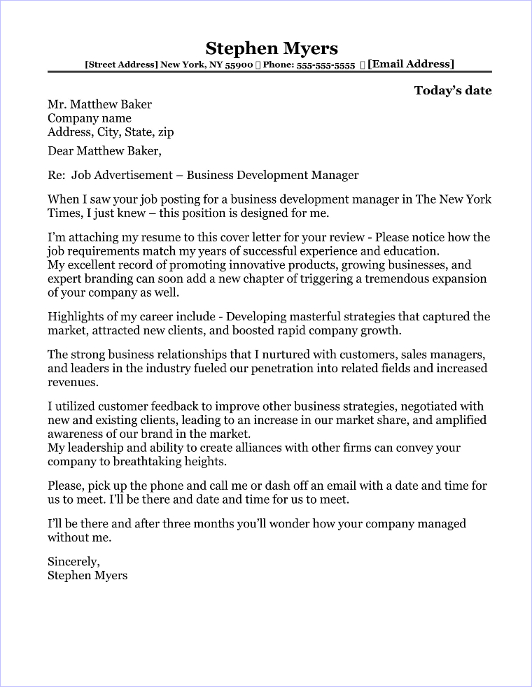 business development manager cover letter sample - Development Director Cover Letter