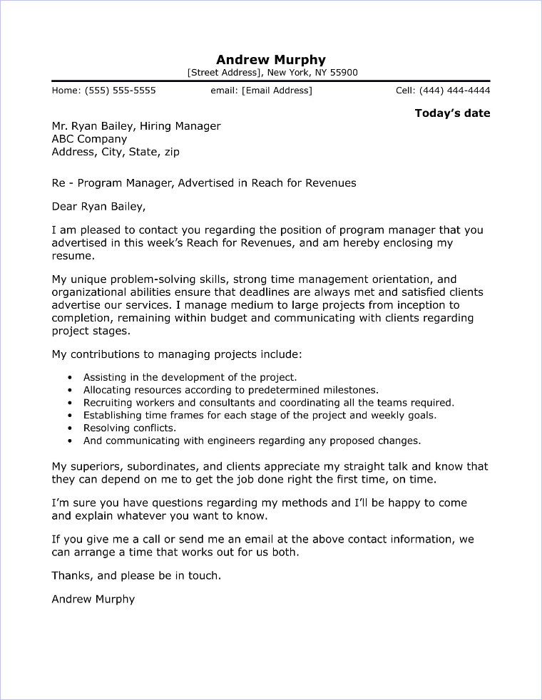 program manager cover letter sample
