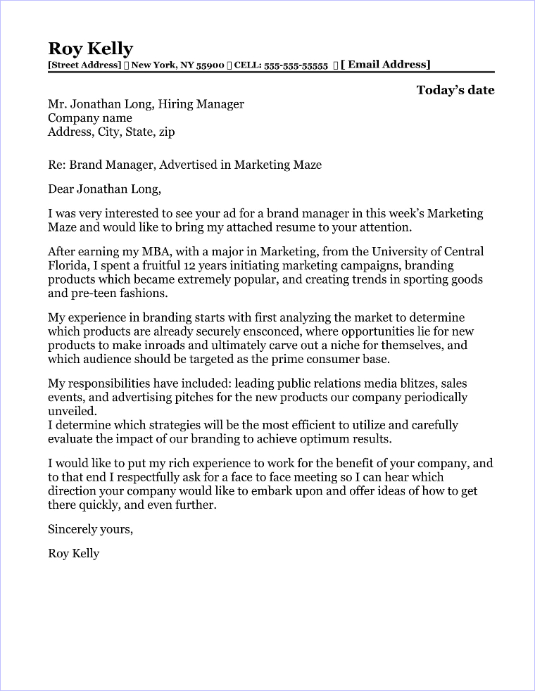 Marketing and sales cover letter samples for Brand management cover letter