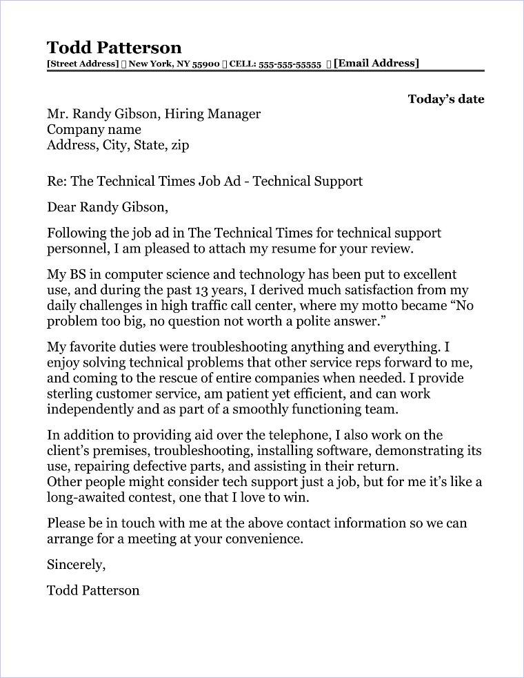 Technical Support Cover Letter Sample