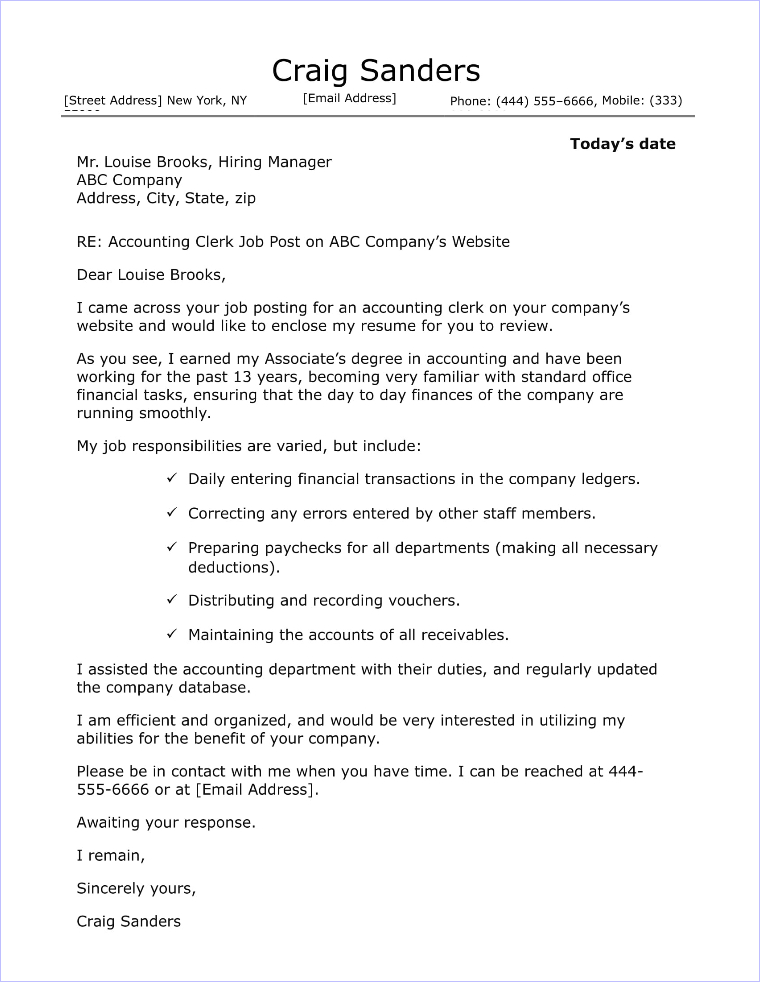 Clerk Cover Letter.Accounting Clerk Cover Letter Sample