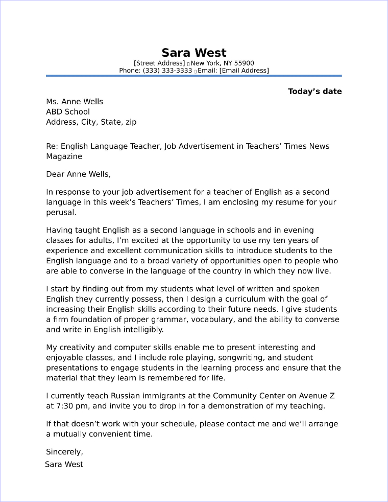 substitute teacher cover letter sample - Cover Letter Esl Teacher