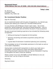 Investment Banking Cover Letter Sample