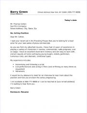 Actor Cover Letter Sample
