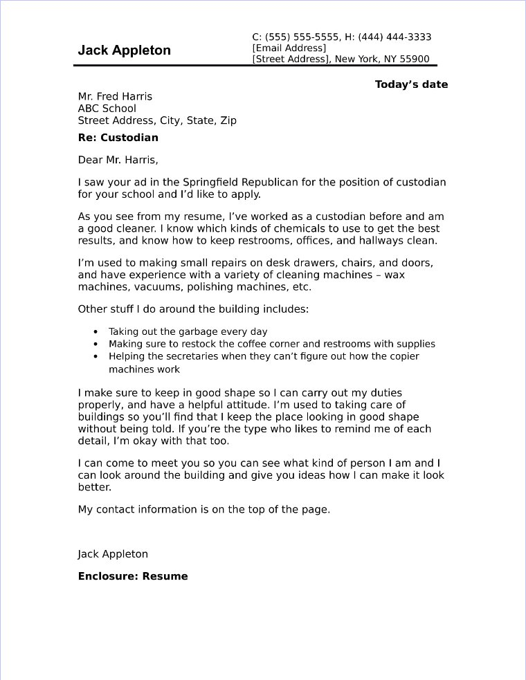 155 Custodian Cover Letter Sample
