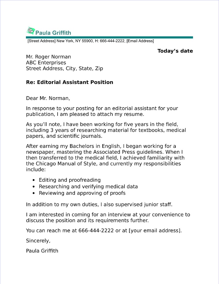 Amazing Editorial Assistant Cover Letter Sample