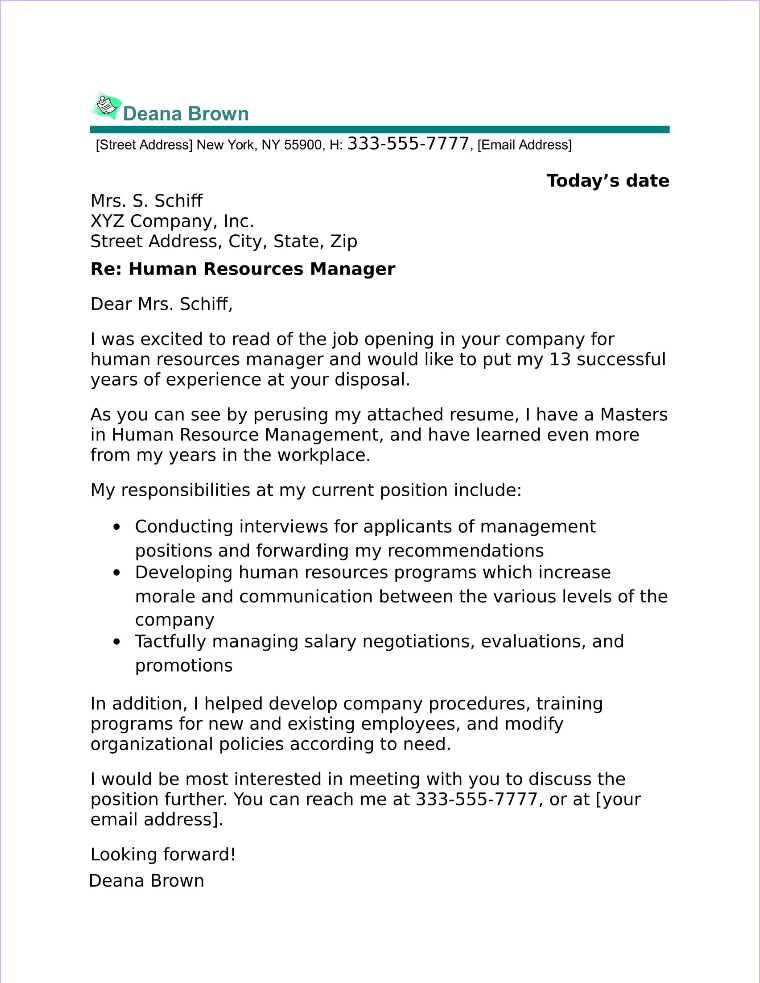 Human resources manager cover letter sample for Cover letter for human resource coordinator