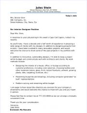 Interior Designer Cover Letter Examples Primary Collection Stylish