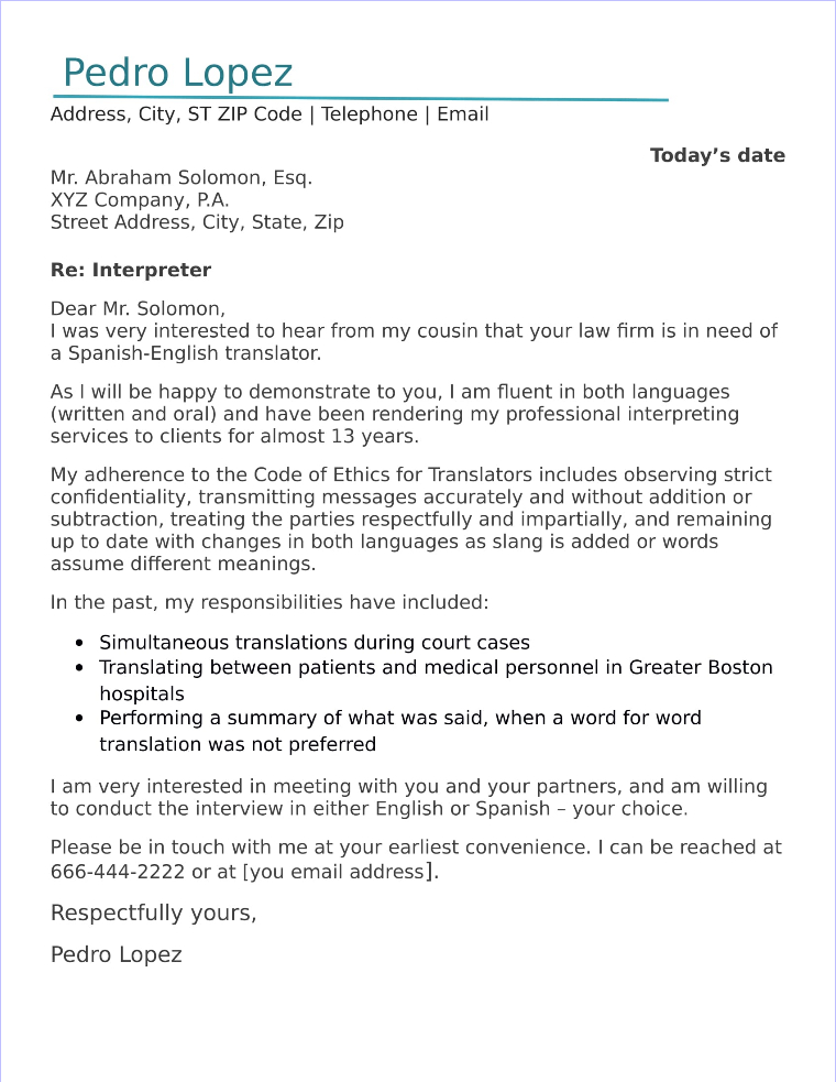 interpreter cover letter sample