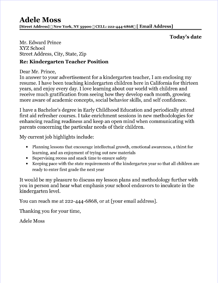 Kindergarten Teacher Cover Letter Sample