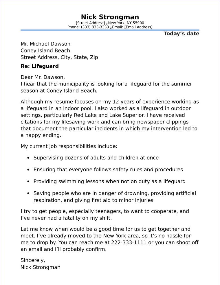 Lifeguard Cover Letter Sample