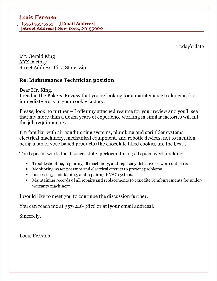 168 Maintenance Cover Letter Sample