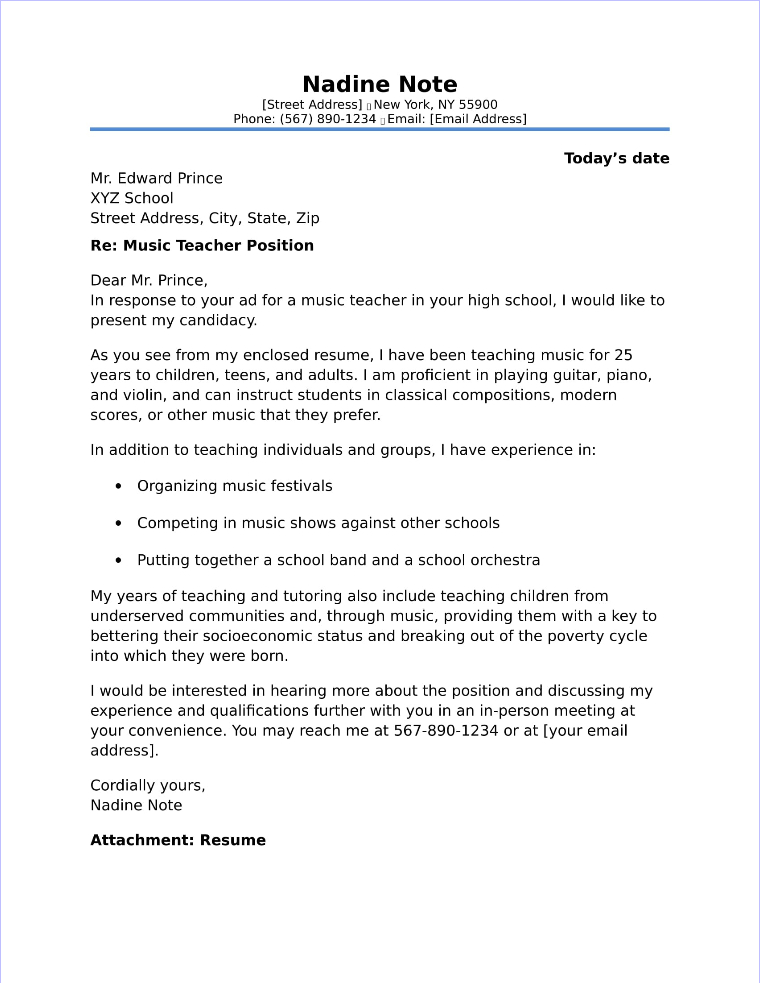 Application Letter Music Teacher - Music Teacher Resume Sample