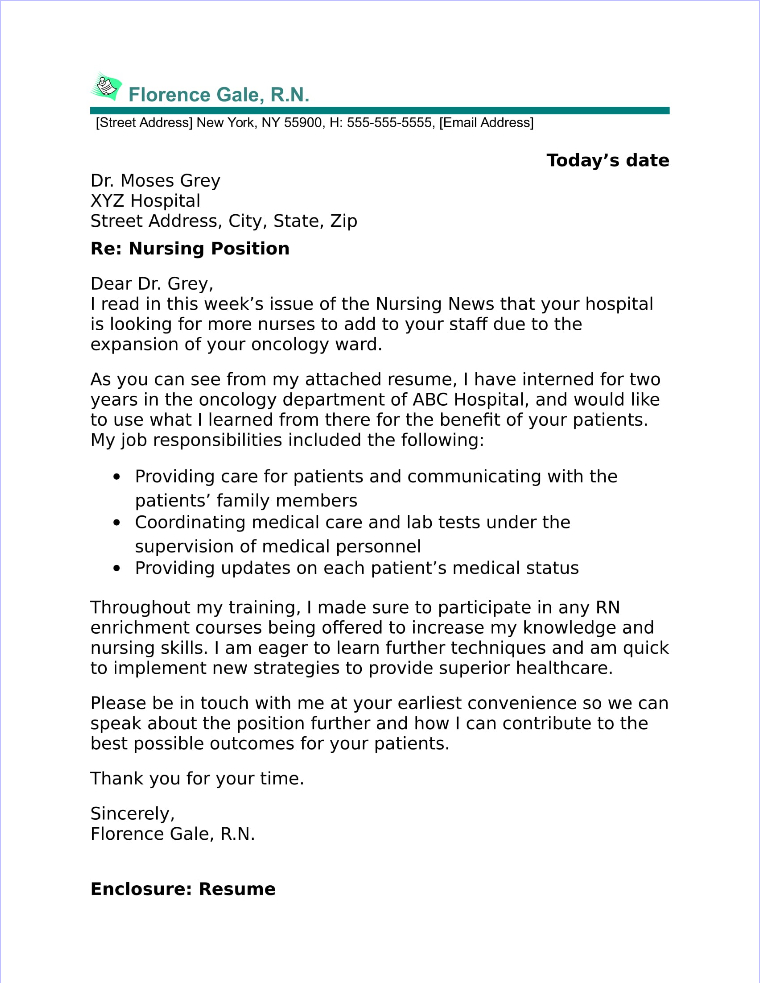 New Graduate Nurse Cover Letter Sample