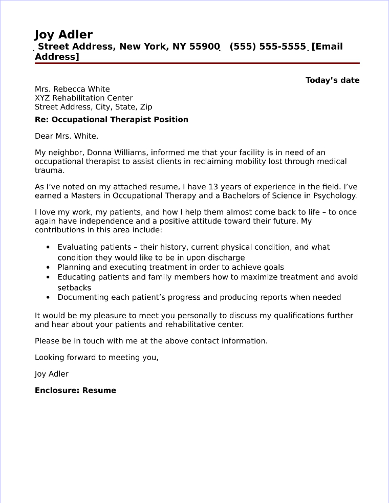 Occupational Therapist Cover Letter Sample