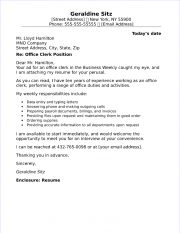 Office Clerk Cover Letter Sample
