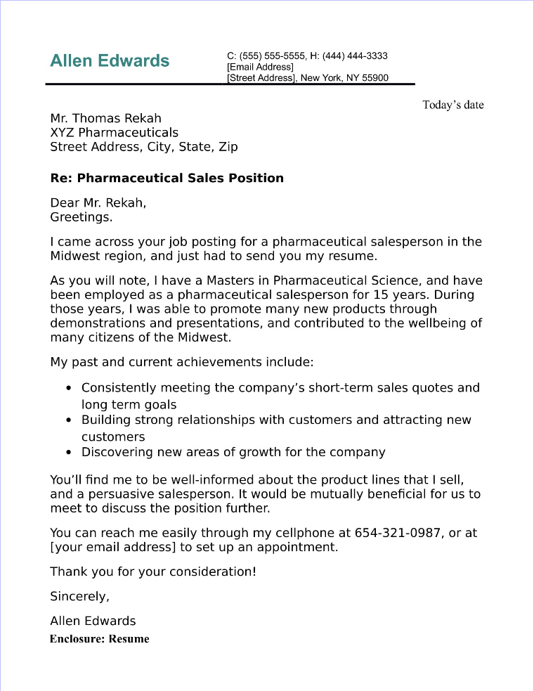 Pharmaceutical Sales Cover Letter Sample