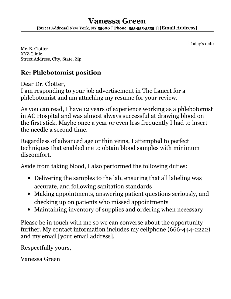 Phlebotomist Cover Letter Sample