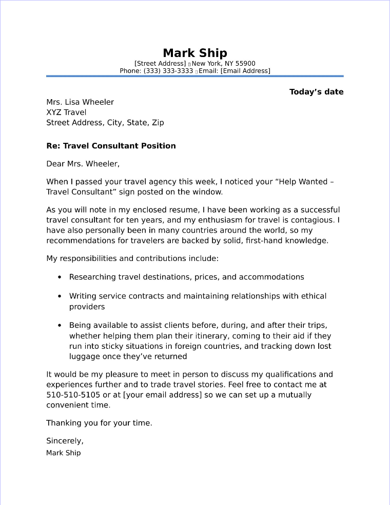 Travel Consultant Cover Letter Sample