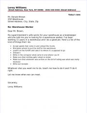 warehouse worker cover letter - Warehouse Worker Cover Letter