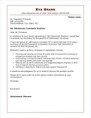 College admission counselor cover letter