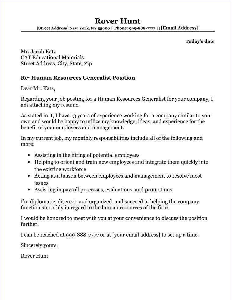 cover letter for human resources generalist - Topa ...