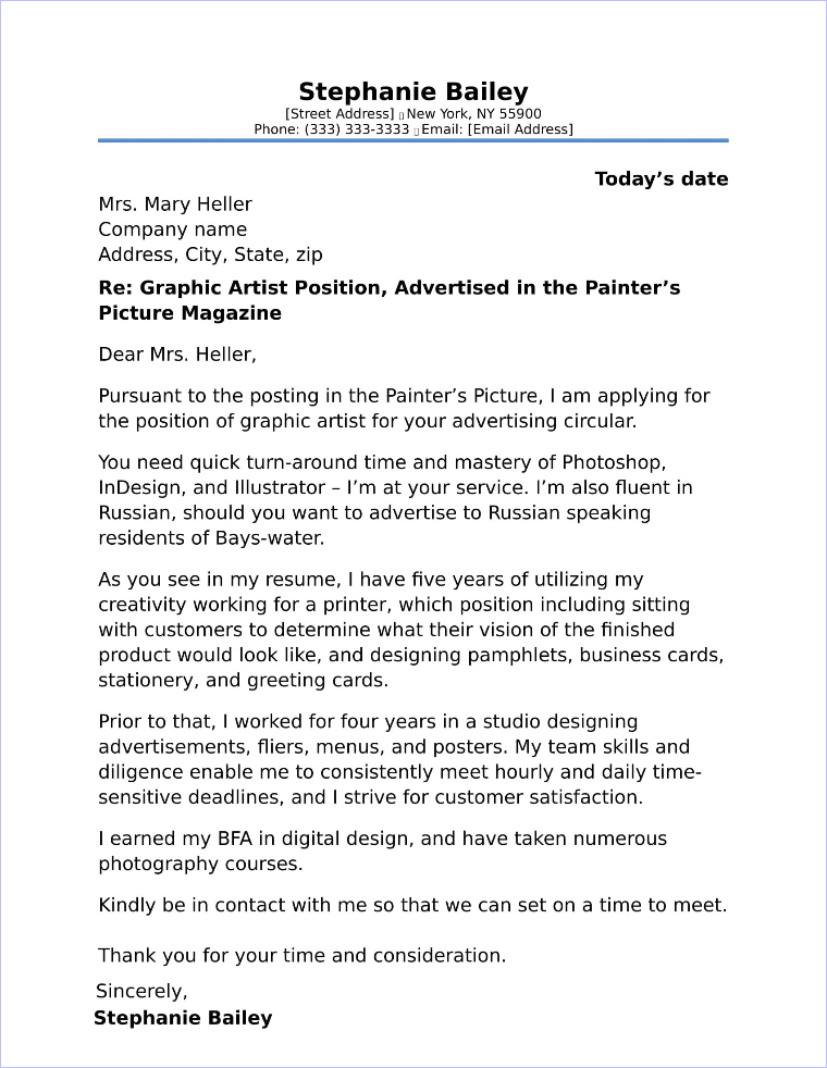 Graphic Designer Cover Letter Sample - Graphic Designer Cover Letter