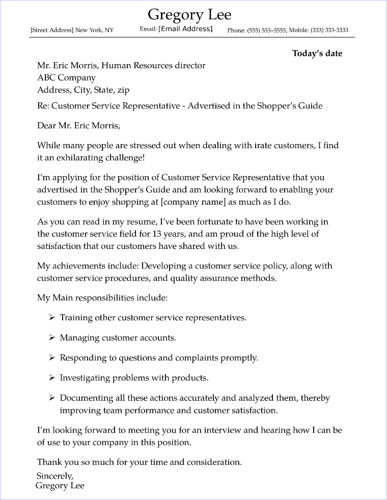 Sample Cover Letter Customer Service from www.job-interview-site.com