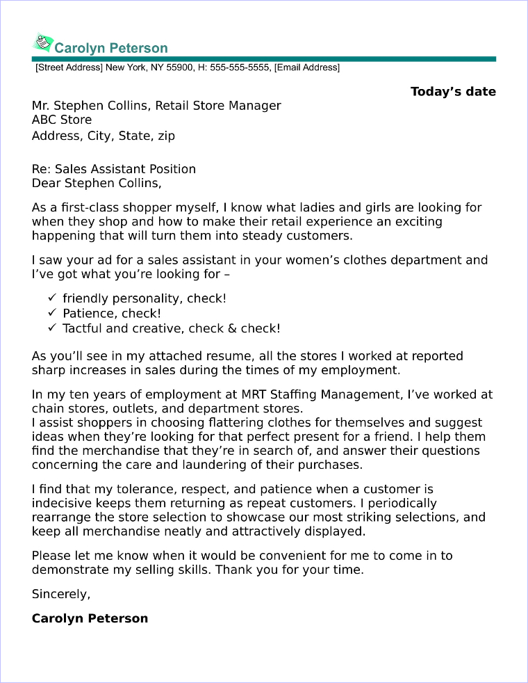 Marketing And Sales Cover Letter Samples