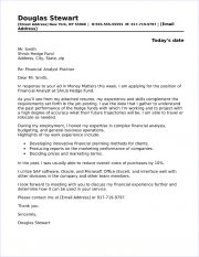 Financial Analyst Cover Letter Sample