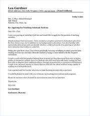 teacher assistant cover letter sample