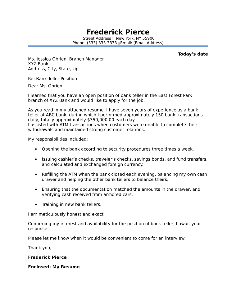 Cover Letter For Bank Teller | Bank Teller Cover Letter Sample