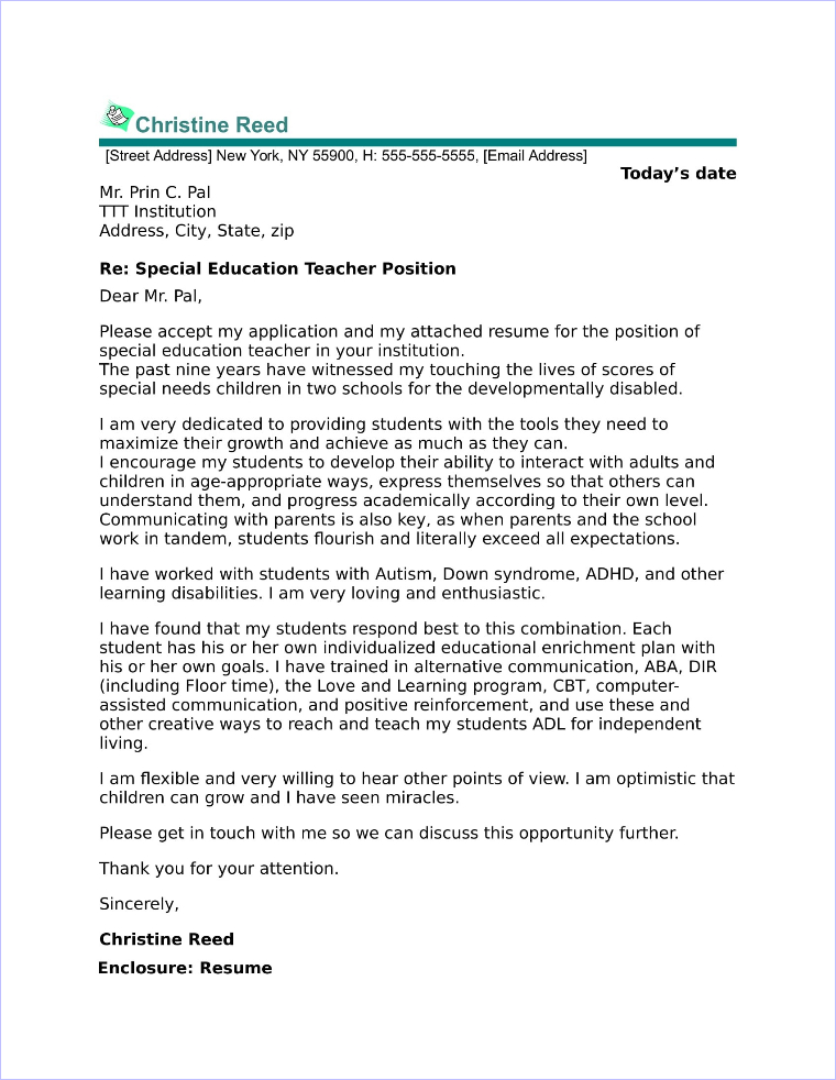 Preschool Teacher Cover Letter Sample