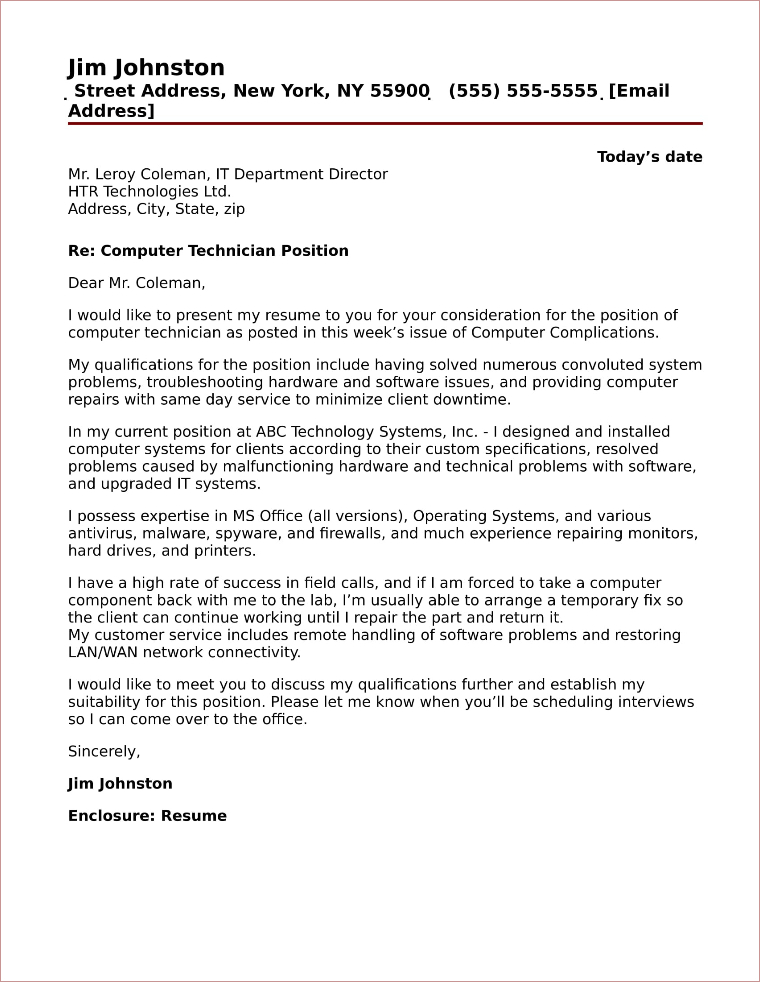 cover letter for computer technician Including cover letter for computer service technician registration, i was not surprised it's a smart choice you'll be glad you made most people spend all their job, mailfor any job positionany career situation right from the comfort of your home.