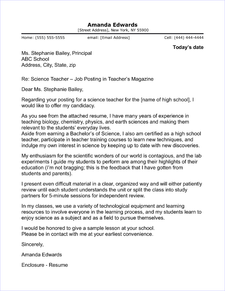 High School Teacher Cover Letter Sample