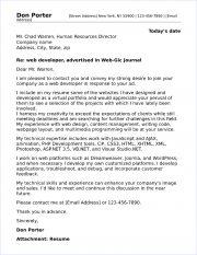 web developer cover letter sample