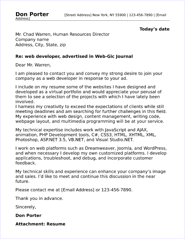 Web Developer Cover Letter Sample