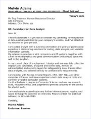 data analyst cover letters
