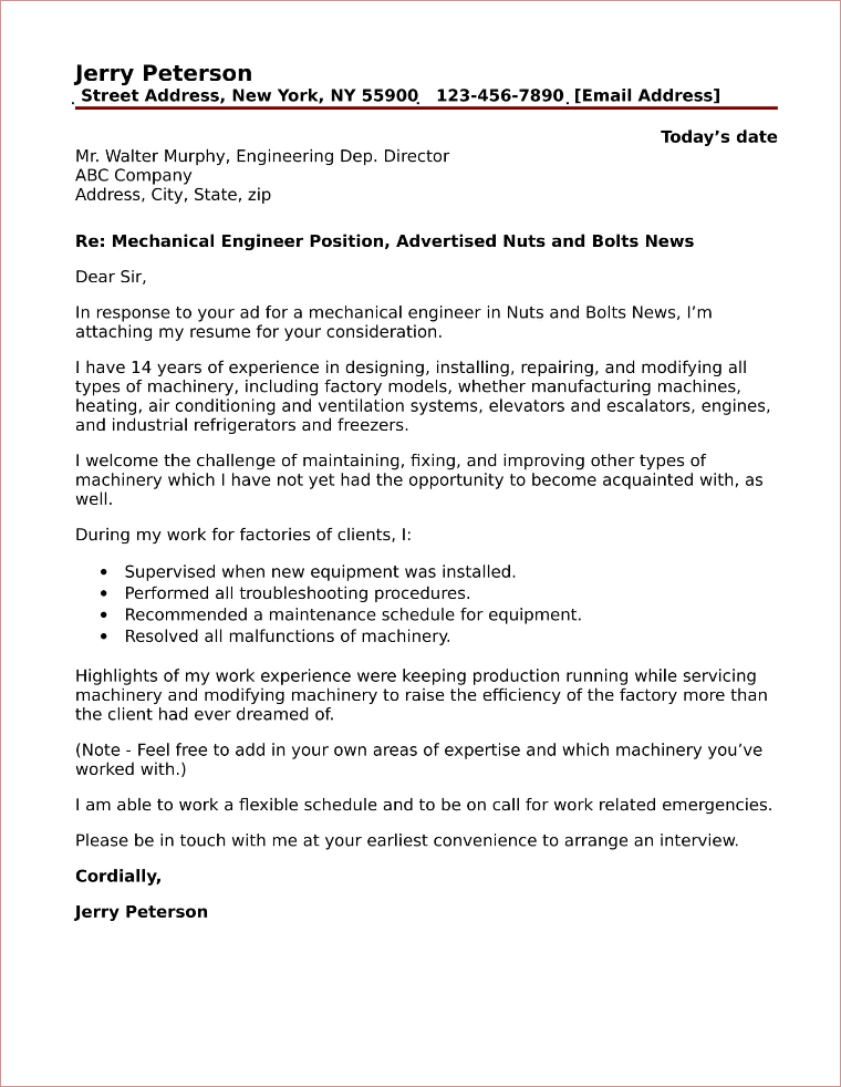 mechanical engineer cover letter example mechanical engineer cover letter sample 23598 | 56 mechanical engineer cover letter