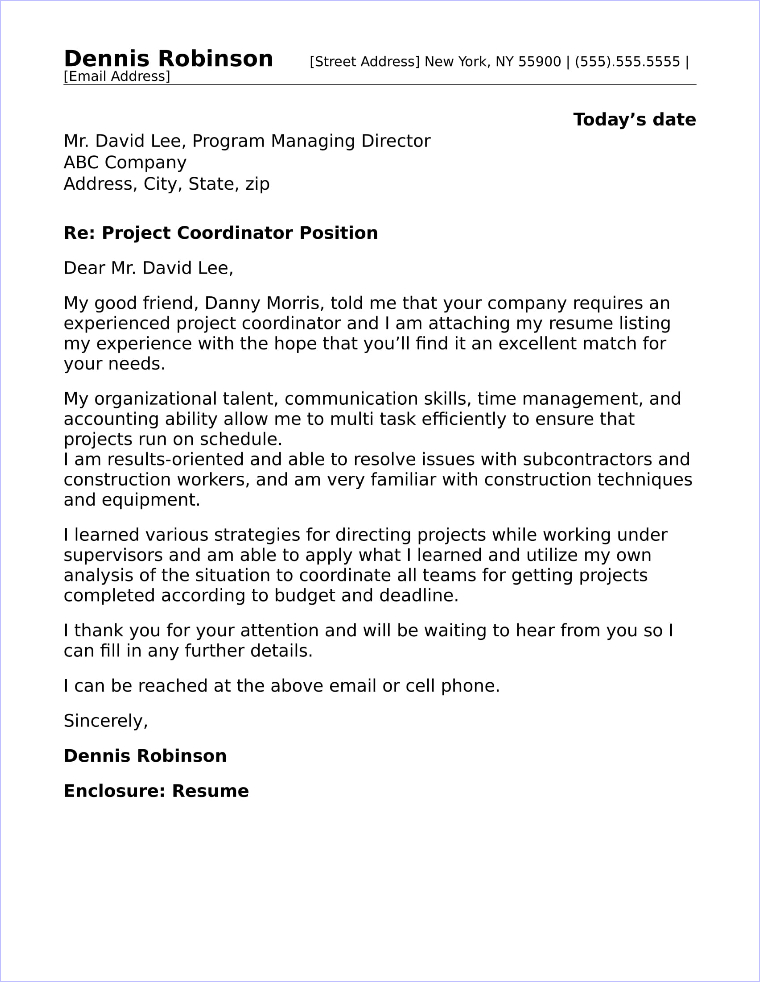 Project coordinator cover letter sample for Cover letter for project coordinator position