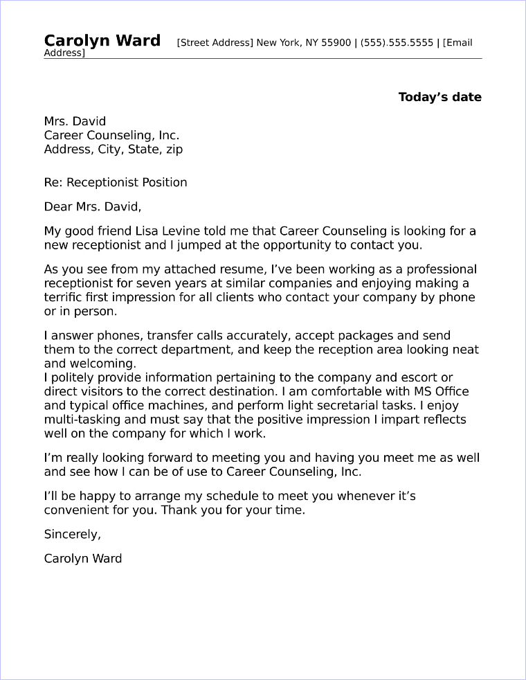 Receptionist Cover Letter Sample