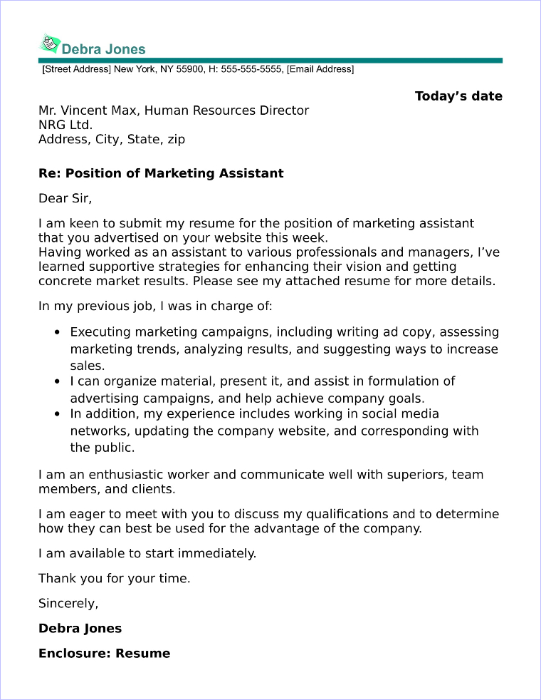 Marketing Assistant Cover Letter Sample